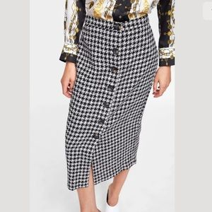 Zara Plaid Tube Midi Skirt Size XS